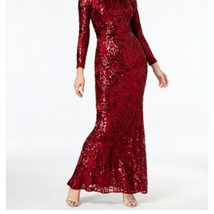 Macy's red long sleeve sequin dress size 2